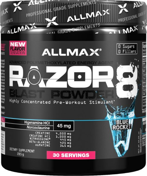 AllMax Nutrition Razor8 Blast Powder - 30 Servings Blue Rocket