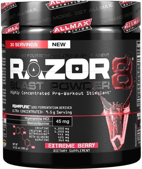 AllMax Nutrition Razor8 Blast Powder - 30 Servings Extreme Berry