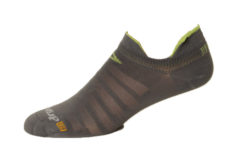 Drymax Running Hyper Thin No Show Double Tab Socks - anthracite/lime, medium