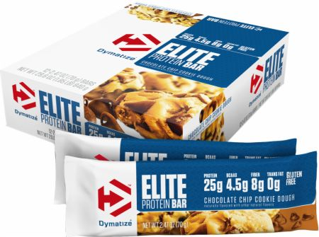 Dymatize Elite Protein Bar - Box of 12 Chocolate Chip Cookie Dough