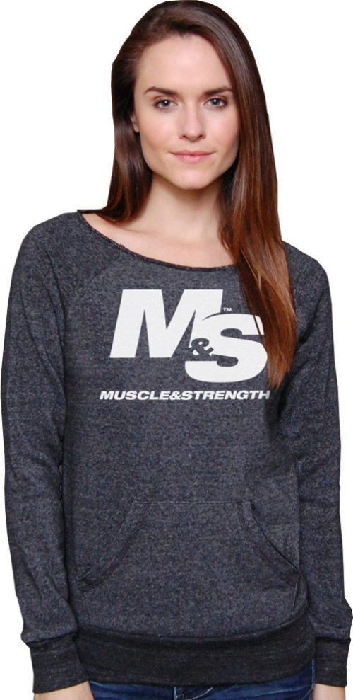 Muscle & Strength Women's Cutoff Eco-Sweater - Large Charcoal Heather