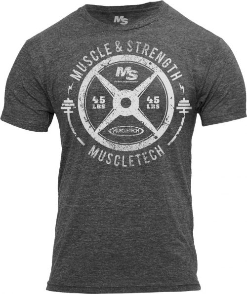 "MuscleTech ""45 Plate"" Tee - Charcoal Large"