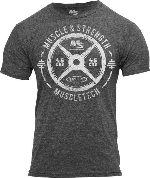 """MuscleTech """"45 Plate"""" Tee - Charcoal Medium"""