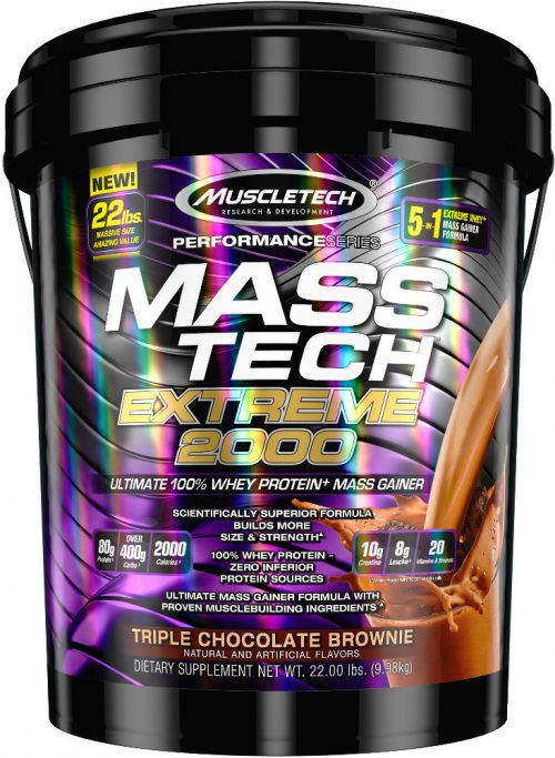 MuscleTech Mass-Tech Extreme 2000 - 22lbs Triple Chocolate Brownie