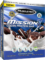 MuscleTech Mission1 Bars - Box of 4 Cookies and Cream