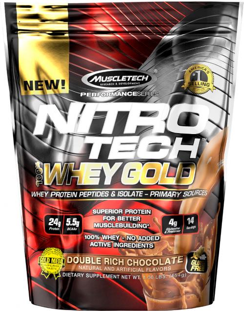MuscleTech Nitro-Tech 100% Whey Gold - 1lb Double Rich Chocolate