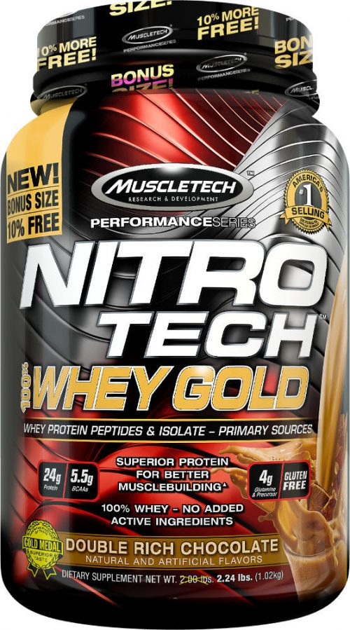 MuscleTech Nitro-Tech 100% Whey Gold - 2.2lbs Double Rich Chocolate