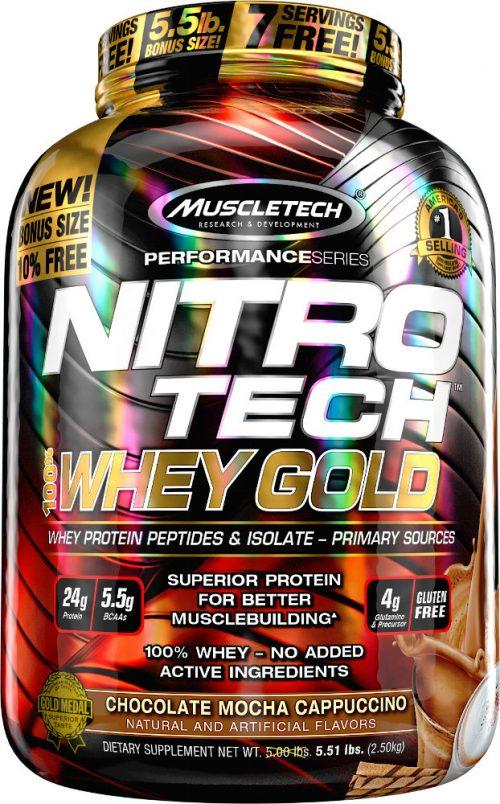 MuscleTech Nitro-Tech 100% Whey Gold - 5.5lbs Chocolate Mocha Capp