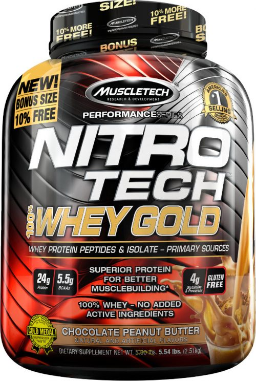 MuscleTech Nitro-Tech 100% Whey Gold - 5.5lbs Chocolate Peanut Butter
