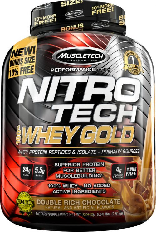 MuscleTech Nitro-Tech 100% Whey Gold - 5.5lbs Double Rich Chocolate