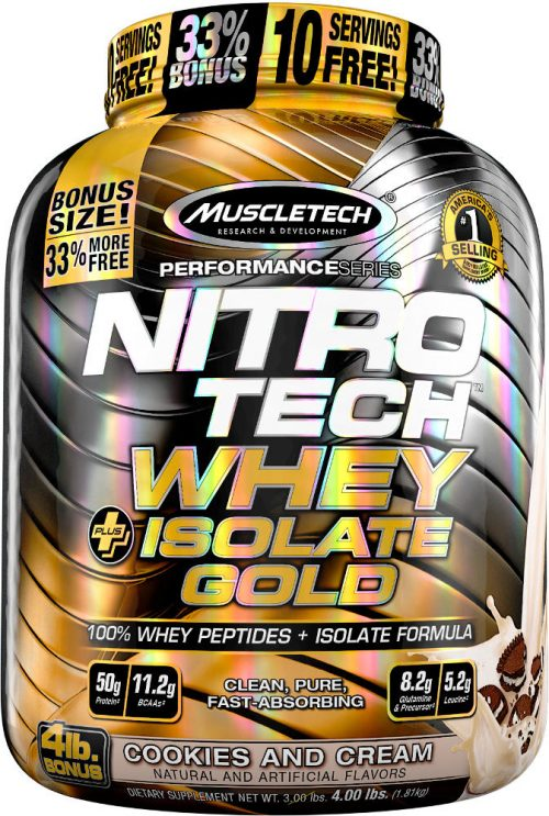 MuscleTech Nitro-Tech Whey Plus Isolate Gold - 4lbs Cookies & Cream