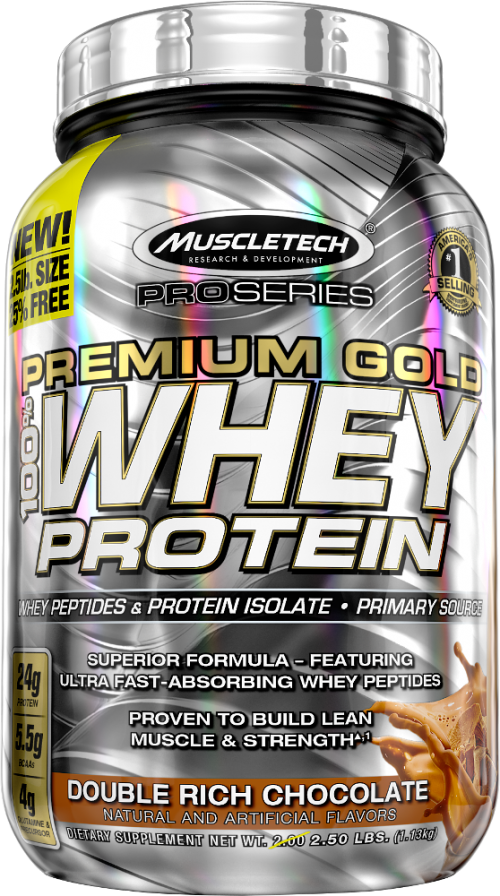 MuscleTech Pro Series Premium Gold 100% Whey - 2.5lbs Double Rich Choc