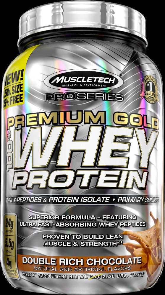 MuscleTech Pro Series Premium Gold 100% Whey - 2.5lbs Double Rich Choc