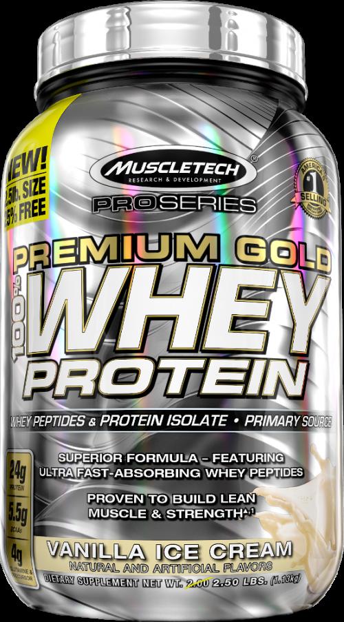 MuscleTech Pro Series Premium Gold 100% Whey - 2.5lbs Vanilla Ice Crea