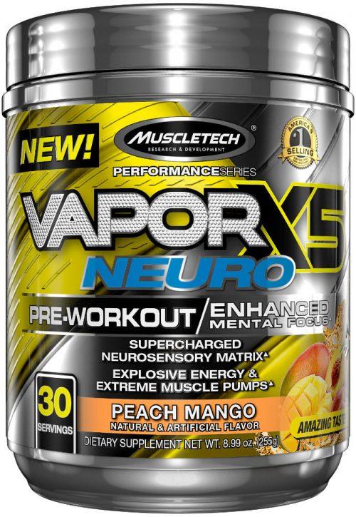 MuscleTech Vapor X5 Neuro - 30 Servings Peach Mango