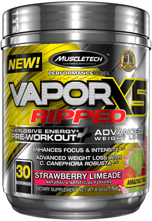 MuscleTech Vapor X5 Ripped - 30 Servings Strawberry Limeade