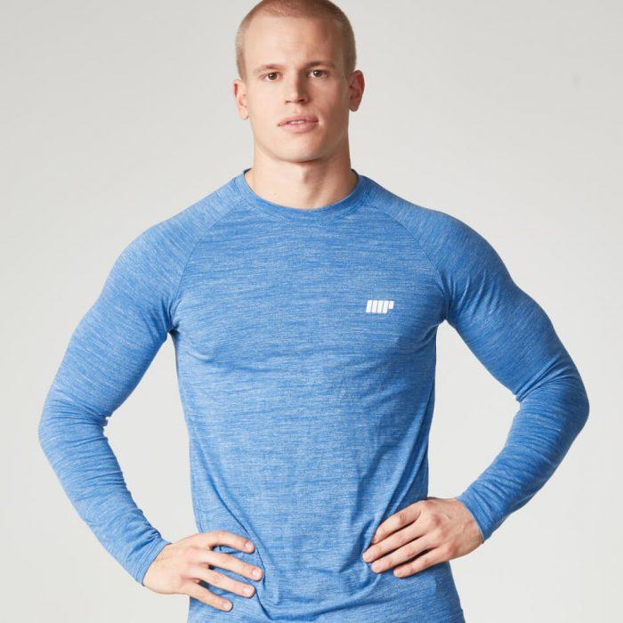 Myprotein Men's Performance Long Sleeve Top, Blue Marl, XXL