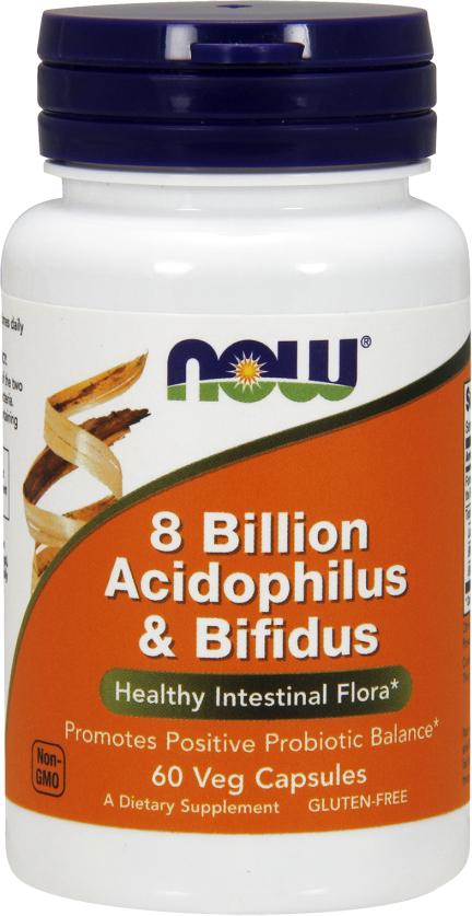 NOW Foods 8 Billion Acidophilus & Bifidus - 60 VCapsules