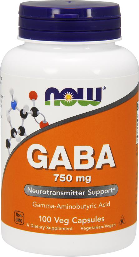 NOW Foods GABA 750 - 100 Capsules