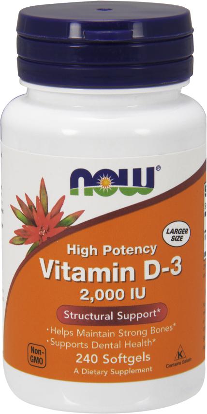 NOW Foods Vitamin D-3 - 2,000IU 240 Softgels
