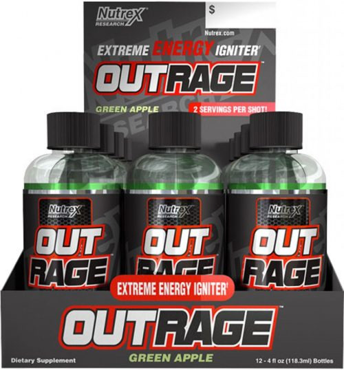 Nutrex Outrage Energy Shots - 12 Shots Green Apple