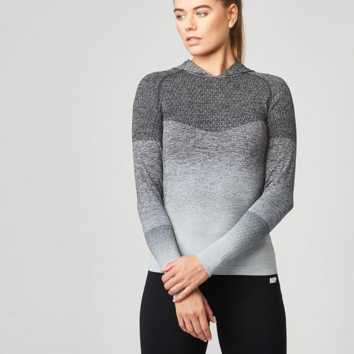 Ombre Seamless Hoodie - Black - S