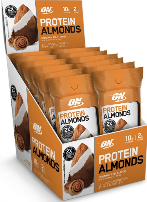 Optimum Nutrition Protein Almonds - 12 Pack Cinnamon Roll