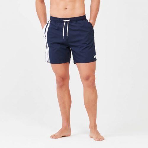Regular Length Stripe Swim Shorts - Navy - M