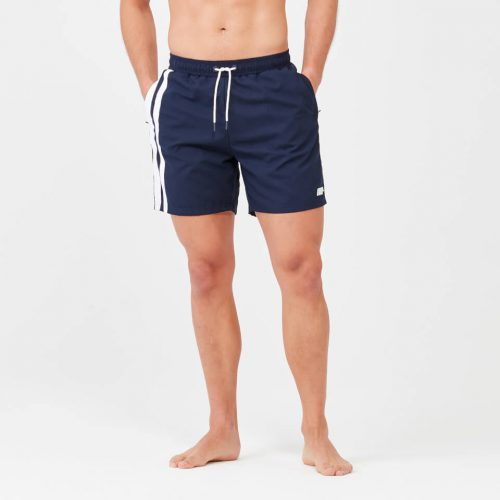 Regular Length Stripe Swim Shorts - Navy - S
