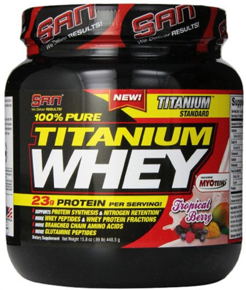 SAN 100% Pure Titanium Whey - 1lb Tropical Berry