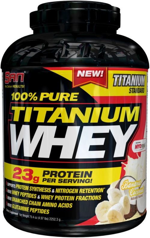 SAN 100% Pure Titanium Whey - 5lbs Banana Coconut