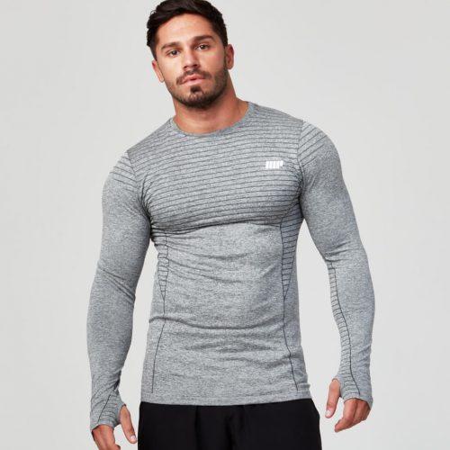 Seamless Long Sleeve T-Shirt - Grey Marl - XL