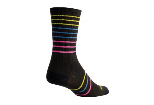 "Sock Guy SGX 6"" Myriad Socks - black/yellow/blue/pink, s/m"
