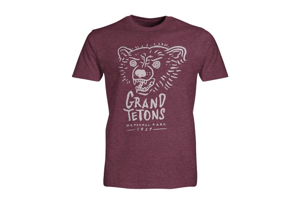 Wilder & Sons Grand Tetons National Park Short Sleeve T-Shirt - Men's - burgundy heather, small