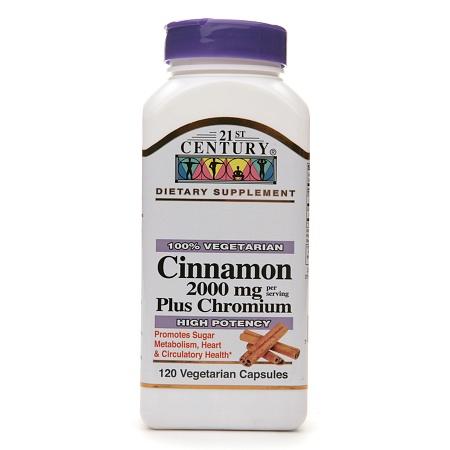 21st Century Cinnamon 2000 mg Plus Chromium, Veggie Capsules - 120 ea