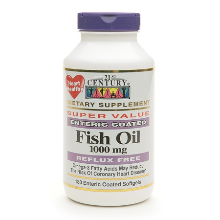 21st Century Enteric Coated Fish Oil 1000mg, Reflux Free - 180 Softgels