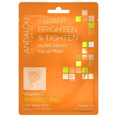 Andalou Naturals Instant Brighten & Tighten Hydro Serum Facial Mask Vitamin C, Single Use - 1 sh