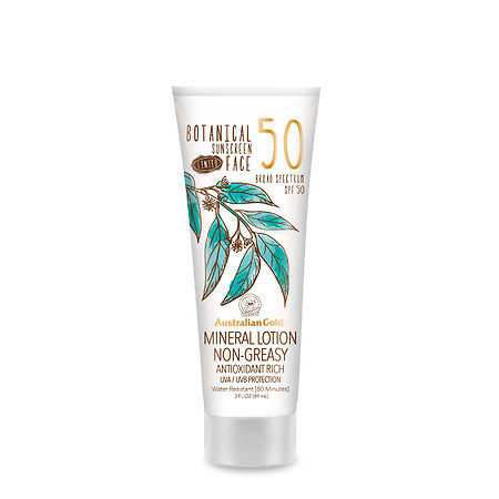 Australian Gold Botanical Sunscreen SPF 50 Tinted Face Mineral Lotion - 3 oz.