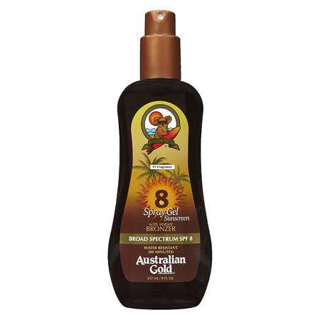 Australian Gold Spray Gel with Instant Bronzer, SPF 8 - 8 fl oz