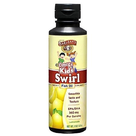 Barlean's Organic Oils Omega Kids Swirl Omega-3 Fish Oil Lemonade - 8 fl oz