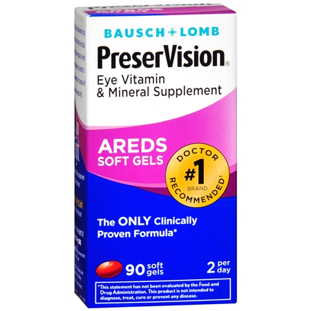 Bausch + Lomb PreserVision AREDS Eye Vitamin & Mineral Supplement Soft Gels - 90 ea