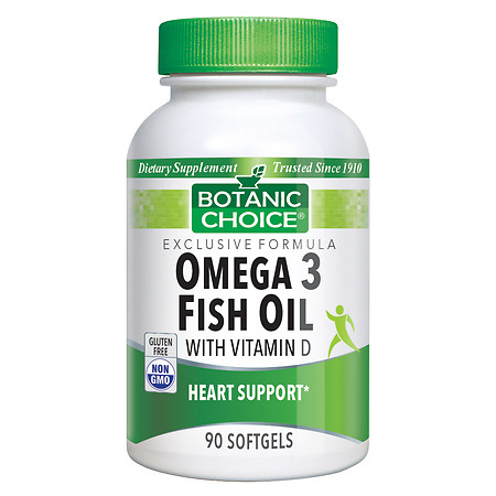 Botanic Choice Omega 3 Fish Oil with Vitamin D Dietary Supplement Softgels - 90 ea