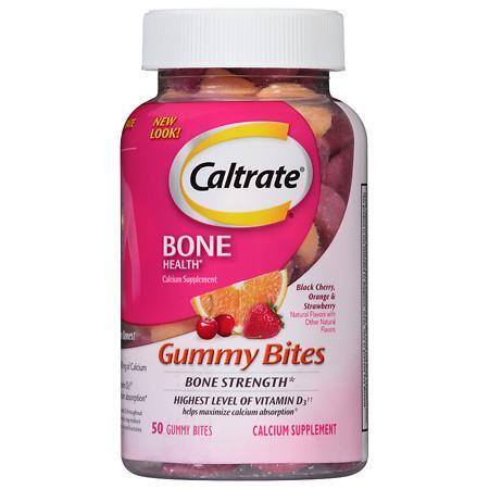 Caltrate Calcium & Vitamin D3 Supplement Gummy Bites Black Cherry - 50 ea