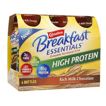 Carnation Breakfast Essentials Complete Nutritional Drink, Bottles Rich Milk Chocolate - 8 oz.