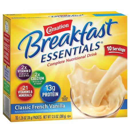 Carnation Breakfast Essentials Complete Nutritional Drink, Packets Classic French Vanilla - 1.26 oz.