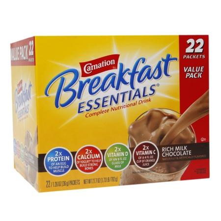 Carnation Breakfast Essentials Complete Nutritional Drink, Packets Rich Milk Chocolate - 1.26 oz.