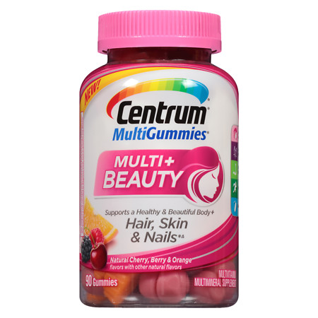 Centrum Multi Gummies Multi+ Beauty Natural Cherry, Berry, & Orange - 90 ea