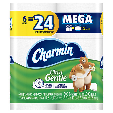 Charmin Sensitive Toilet Paper, Mega Rolls - 6 ea