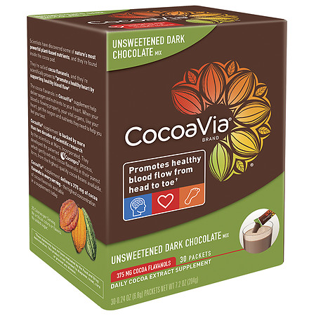 CocoaVia Daily Cocoa Extract Supplement Unsweetened Dark Chocolate - 30 ea