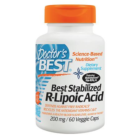 Doctor's Best Best Stabilized R-Lipoic Acid, 200mg, Veggie Caps - 60 ea